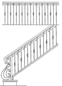 Stair Design (can be done with wood rail and newel posts or all iron. Staircase Railing Design, Wrought Iron Stair Railing, Iron Staircase, Wrought Iron Decor, Metal Railings, Stair Design, Interior Handrails, Steel Handrail, Balustrades