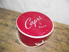 Vintage Red Round Hat Box Capri by Paula Storage by RuffByMargo, $12.00