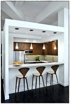 24 Top and Amazing Small Kitchen Bar Design Ideas For Small Space Living Room And Kitchen Design, Kitchen Bar Design, Interior Design Kitchen, Kitchen Ideas, Kitchen Modern, Kitchen Wood, Bar Kitchen, Kitchen White, Interior Modern