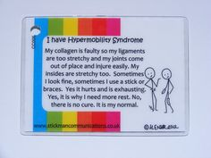 Keyring Card: Hypermobility Syndrome - Stickman Communications  This explains a little bit about me.