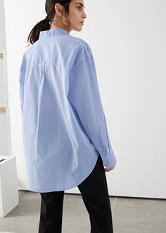Oversized Button Up Shirt - Light Blue - Shirts - & Other Stories Oversized Button Down Shirt, Button Up Shirts, Stylish Outfits, Cool Outfits, Polo Shirt Girl, Straight Trousers, Light Blue Shirts, Blazer Outfits, Fashion Story