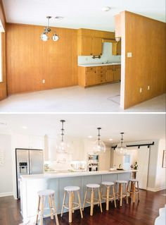 This room, or kitchen, was really opened up with the removal of the wall and was made a much brighter space.