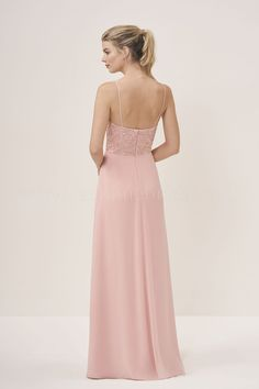 35095036df2f P196058 Long V-neck Lace   Georgette Bridesmaid Dress with Spaghetti Straps