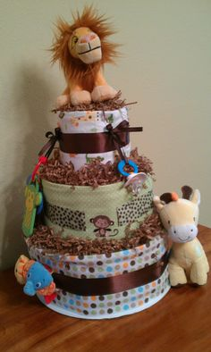 Jungle themed diaper cake - Also a first.