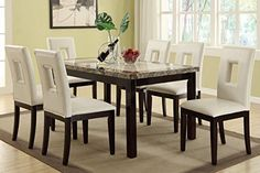 Poundex F2094  F1052 Faux Marble Top W White Leatherette Chairs Dining Set ** See this great product.Note:It is affiliate link to Amazon.
