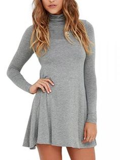 Casual Women Solid Long SleeveTurtleneck Mini Dress
