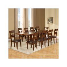 Your guests will never want to leave the table once they have experienced its comfortable cushioned seats and attractive style. Includes table with two 18 inch leaves, and 10 chairs. Solid mango wood construction; walnut finish and black antique metal finish hardware. Holland House Enormous 11 Piece Dining | Weekends Only Furniture and Mattress