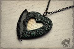 Gothic Lenore loveheart pendant with black by TheArkanaWorkshop