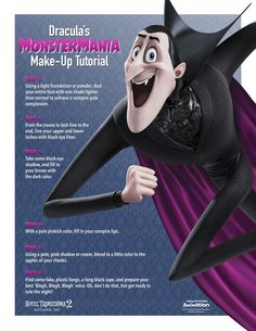 Grow out your fangs and check out this make-up tutorial for transforming yourself into Drac for a terrifyingly hilarious Halloween costume! | Hotel Transylvania 2