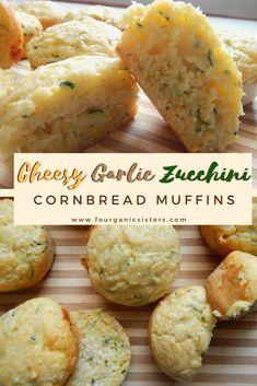 Hearty cornbread muffins packed with zucchini, sharp cheddar cheese and zesty garlic. Zucchini Cornbread, Zucchini Cheese, Cornbread Muffins, Zucchini Tots, Healthy Breakfast Muffins, Savory Muffins, Baking Muffins, Savory Snacks, Bon Dessert