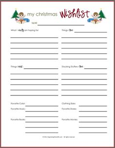 Printable Christmas Gift Wish List for Boys
