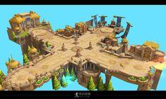 Fantasy Concept Art, Game Concept Art, Game Background Art, Isometric Art, Environment Concept Art, Environmental Art, Fantasy Landscape, Artist Work, Game Design
