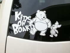 Kids on board Winnie the pooh vinyl decal by CarDecalsByRino
