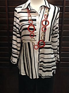 Boho Chic  - White and black print button up top  - $99