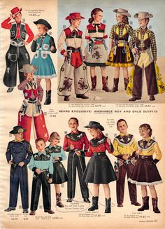 Roy Rogers/Dale Evans cowboy and cowgirl outfits as sold in the Sears Christmas catalog from Happy trails pardners! Western Shirts, Western Wear, Western Style, Childhood Toys, Childhood Memories, Old Advertisements, Advertising, Baby Boomer, Christmas Books
