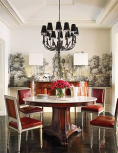 Brooke Shield's dining room features a tole chandelier, a Ralph Lauren Home marble-top pedestal table