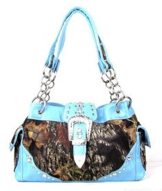 Western Belt Buckle Purse Camouflage Handbag Camo Blue Trim W Rhinestones -- Read more  at the image link.