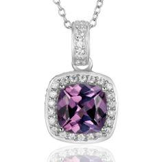 Sterling Silver Simulated Alexandrite Corundum and Cubic Zirconia Pendant - Fashion Jewelry