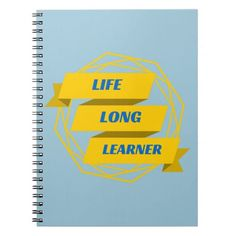 Life long learner geeky banner, yellow and blue note books.