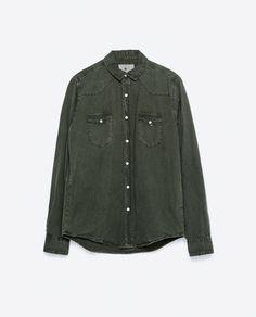 FADED Green DENIM SHIRT from Zara