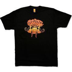 MUSTACHE RIDERS men's black & sunset t-shirt - Screamin' through a canyon ten miles wide; With brooms on our lips and dust in our eyes; We came upon what looked like heavenly skies; A couple of chicks with some tall tanned thighs...
