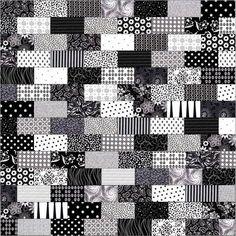 Black And White Bricks Pre Cut Quilt Top Kit Black White Bedding Sets Queen Red Black White Quilt Patterns Black White Quilt Cover Sets Jellyroll Quilts, Lap Quilts, Strip Quilts, Quilt Blocks, Quilt Baby, Mini Quilts, Jelly Roll Quilt Patterns, Patchwork Patterns, White Patterns