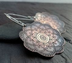 Blooming Copper Earrings // etched flower by LostSparrowJewelry
