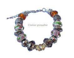 Bracelet charm coeur automne : Bracelet par couleur-grenadine33
