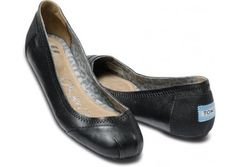 Toms Camila Black Leather Ballet Flats - yes please