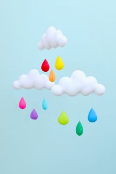Rainbow cloud mobile. by MilbotandChooky on Etsy