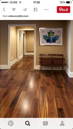 This walnut wide plank flooring is cut from dead or fallen virgin wood timbers that are centuries old, walnut features a rich blend of coffee-colored browns with occasional touches of caramel from its light sapwood. It offers an extraordinarily tight grai Walnut Hardwood Flooring, Hardwood Floor Colors, Dark Hardwood, Wide Plank Flooring, Wooden Flooring, Kitchen Flooring, Flooring Ideas, Kitchens With Wood Floors, Parquet Flooring