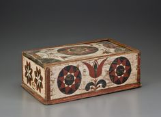 PAINT-DECORATED SLIDE-LID CANDLE BOX PROBABLY BERKS COUNTY, PENNSYLVANIA, DATED 1792 Poplar, original painted decoration, 4 ½ x 14 x 9 inches.