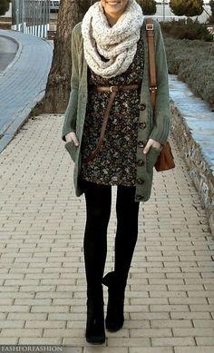 Black tights, black boots, flower print dress, belt, long cardigan, chunky knit scarf