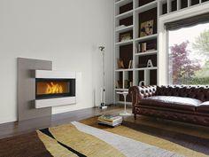 salones chimenea modernos sofa cuero alfombra ideas