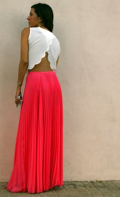 women fashion style clothing outfit bright orange maxi skirt white top watch earrings summer