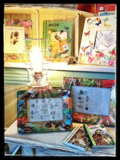 A decoupage vignette in MTFF's gallery. iPhone pic of the display captured/processed by Annette Conniff. All SOLD!