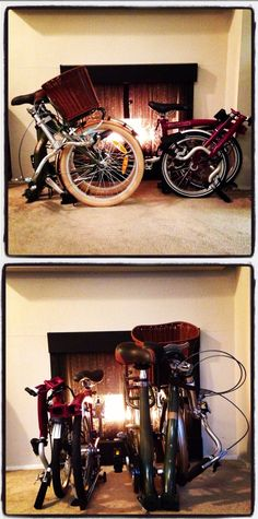 My folding bicycles... The Brompton and Citizen Barcelona side by side.