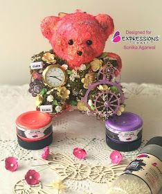 Sonika Agarwal (albela craft by sonika): Cute time altered teddy toy Teddy Toys, Teddy Bear, Happy New Year 2019, Alters, Hello Everyone, Chalk Paint, Craft Supplies, Presents, Create