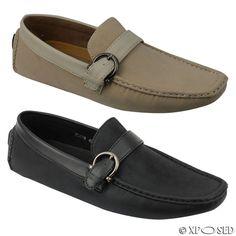 Men Black BeigeFaux Leather Casual Loafer Moccasins Slip on Strap Driving Shoes
