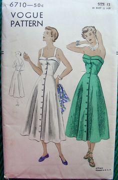 Vintage 50's VOGUE Sewing Pattern 6710 - Lovely STRAPLESS Sundress - Uncut…