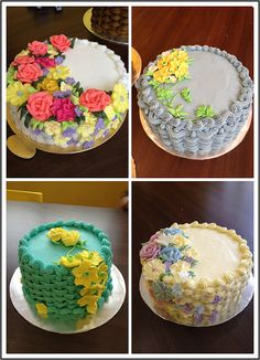 basketweave flower cakes | Wilton Method of Cake Decorating Course 2 basketweave flower cake ...