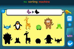 Sorting Machine ($0.00) Arrange tiles by dragging and dropping them to the correct places. Kids will enjoy playing while learning about sequencing, sorting, alphabet, numbering, geometry, math -- and more -- in this fun and educational cognitive game.     Features:  - Colorful screen and friendly animal characters to add to the enjoyment.  - Hint system.  - Collect cool badges.
