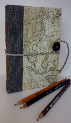 Handmade travel book journal, handbound, upcycled, scrapbook by TrinityHouseCornwall on Etsy https://www.etsy.com/uk/listing/511668110/handmade-travel-book-journal-handbound