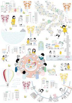 ケンチクイラストレーター、イスナデザイン『ウェルカムボード』#建築 #パース #未来 #イラスト #デザイン #街 #街並み #道 #パーティー #建物 #結婚式 #illustration #perspective #isnadesign #landscape #design #architecture #street #future #wedding #party Wooden Tree House, Report Layout, Architecture People, Doodle Lettering, Illustration Art, Illustrations, Map Art, Infographic, Presentation