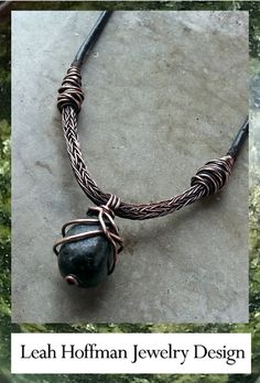 Serpentine wrapped in copper with leather and viking knit chain by Leah Hoffman Jewelry Design