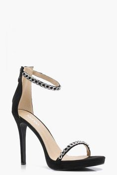 381475f48 boohoo Leah Chain Trim Platform 2 Part Heels #highheels #shoes #summerheels  Summer Heels