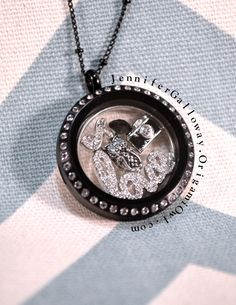 """The """"Little Black Dress"""" of Origami Owl is the beautiful Large Black Crystal Locket!  The perfect addition to any holiday dress!  A great Gift, too!  Check out my facebook at www.facebook.com/o2jennifergalloway or my website www.jennifergalloway.origamiowl.com for more ideas and how to get your own Origami Owl Living Locket"""