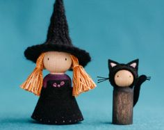 Little Witch and Her Cat Peg Dolls Waldorf Inspired Wood Peg Dolls, Clothespin Dolls, Wooden Pegs, Little Doll, Waldorf Dolls, Doll Crafts, Softies, Halloween Crafts, Art Dolls