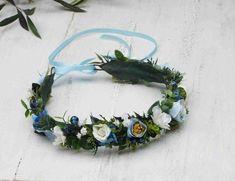 Blue Flower Crown Blue & Cream flowers blue garland Blue | Etsy Cream Flowers, Faux Flowers, Flowers In Hair, Dried Flowers, Purple Flowers, Hair Wreaths, Different Flowers, Tropical Flowers, Blue Cream