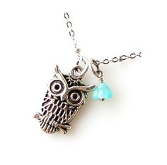 silver owl necklace, owl jewelry, mint green bead, cute animal bird jewelry necklace #owl #necklace www.loveitsomuch.com